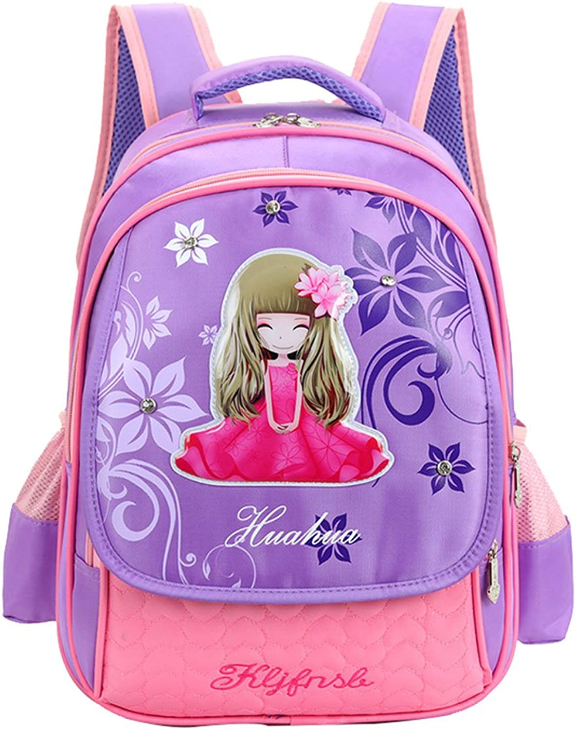 Betop House Princess Design Nylon Kids School Bag Backpack for Girls (Purple)