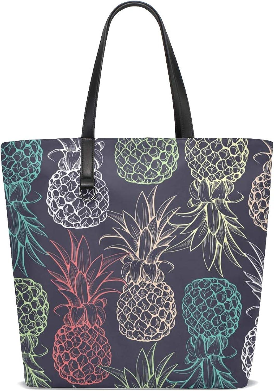 6f73d78e663d1 XiangHeFu Damen Handtaschen Handtaschen Handtaschen Nahtloses Muster bunte  Ananas Polyester Stoff Schultertasche B07J3N384M Saisonale Förderung 60c492