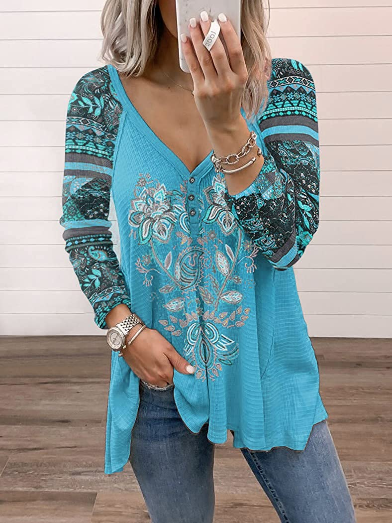 Melliflo Womens Ethnic Style Casual Boho Embroidered Tops V Neck Long Sleeve Peasant Blouses Button Down Flowy Shirts