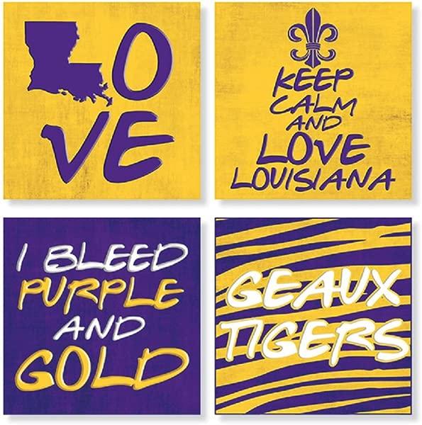 Carson Home Accents Set Of 4 Square Stoneware Louisiana House Coasters Purple N Gold