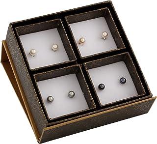 أقراط نسائية من الفضة الاسترلينية 925 مرصعة باللؤلؤ الطبيعي الملون مقاس 7 مم، 4 أزواج، أخرى، لؤلؤي، من Bella Pearls