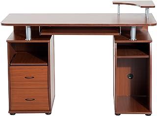 HOMCOM Mesa de Ordenador PC Escritorio de Oficina para Hogar Oficina Estudio Madera 120x55x85cm Nogal