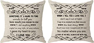 NIDITW Set of 2 Wife Husband Present with Sayings When I Tell You I Love You I Dont Say It Out of Habit Cream Body Burlap Throw Pillow Cover Pillow Case Sofa Decorative Square 18x18 Inch