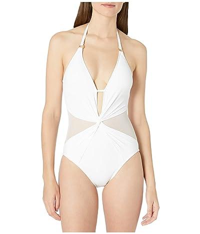 La Blanca Mesh-Merizing Halter Mio One-Piece Swimsuit (White) Women