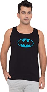 American-Elm Men Black Cotton Sky Blue Batman Printed Sleeveless Vest