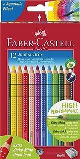 Faber Castell 12 JUMBO GRIP COLOUR PENCILS + SHARPENER