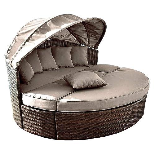 Venus Round Garden Sofa Daybed | Circular Design With Folding Canopy | Jarder UK