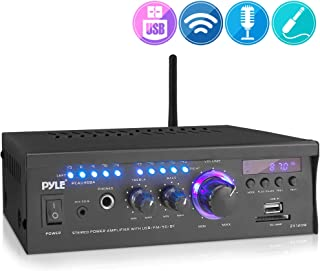 Wireless Bluetooth Home Stereo Amplifier - 2x120 Watt Power Amplifier Home Audio Bluetooth Receiver System W/Blue Led Display, USB/SD, AUX, RCA, Headphone Jack - Remote - Pyle PCAU46BA