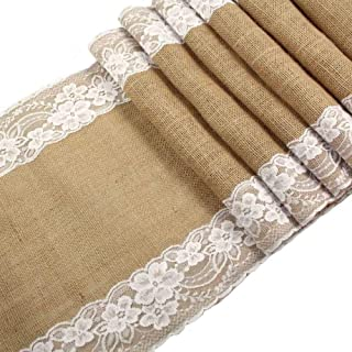 CCTRO Burlap Lace Hessian Table Runner, Rustic Natural Jute Country Wedding Party Bridal Shower Babe Shower Dining Table Decoration 12x108 inches