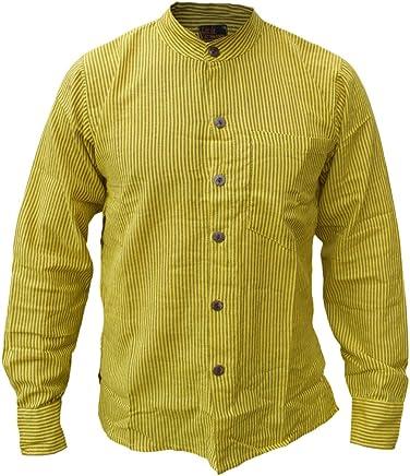 Camisas nepalesas de Little Kathmandu para hombres, de manga larga con botones y rayas