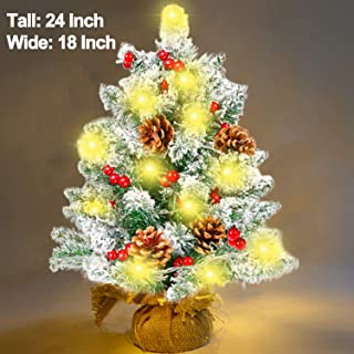 24 Inch Tabletop Christmas Tree, 60 Branches Mini Christmas Tree with Battery Operated【50 Warm White LED Light】7 Pine Cones 36 Berries, for Table Windows Indoor Outdoor Xmas Holiday Decoration