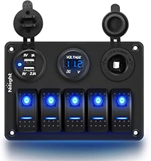 Nilight - 90118H 5 Gang Rocker Switch Panel Pre-Wired Aluminum Switch Panel with Dual USB Cigarette Lighter Socket Voltmet...
