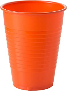 Exquisite 12 oz Orange Plastic Cups II 50 Count Bulk Pack Disposable Party Cups II Premium Quality Plastic Tumblers for Parties