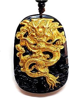 Ciondolo di giada nera naturale ossidiana con drago intarsiato in puro oro giallo 18K 999