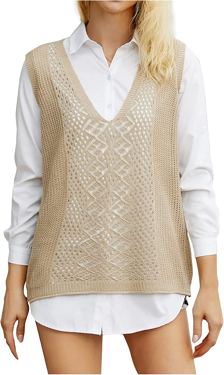 Women's Knitted Sweater Vest V Neck Sleeveless Loose Casual Sweaters Hollow Solid Color Waistcoat Pullover Knitwear Top