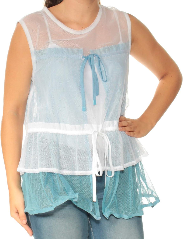 DKNY Womens Light bluee Sheer Sleeveless Illusion Neckline Top US Size  S