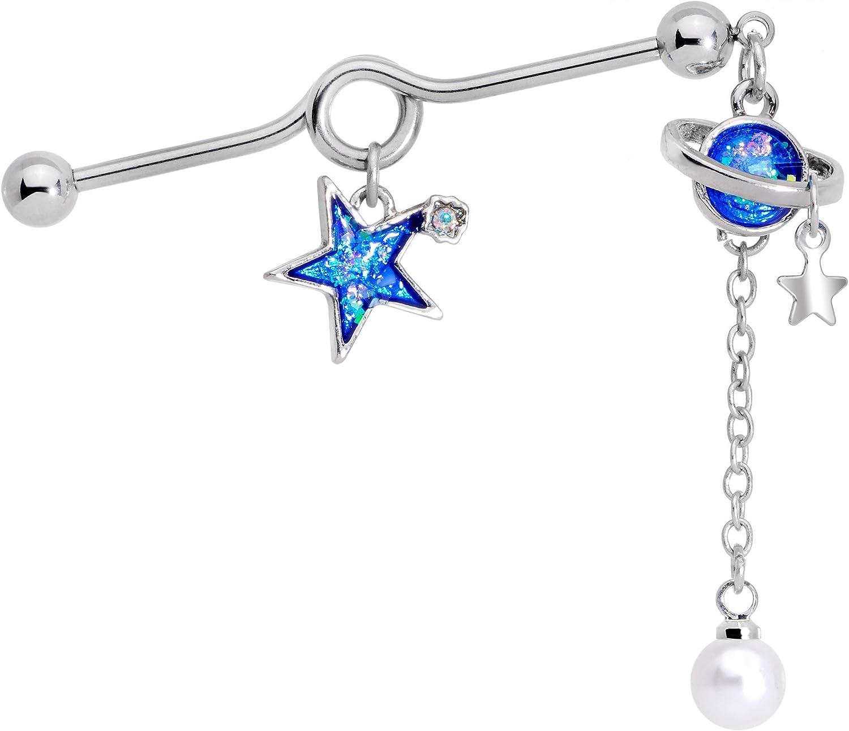 Body Candy Womens 14G Steel Helix Cartilage Earring Glitter Blue Star Planet Dangle Project Barbell 1 1/2