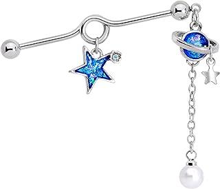 Womens 14G Steel Helix Cartilage Earring Glitter Blue Star Planet Dangle Project Barbell 1 1/2