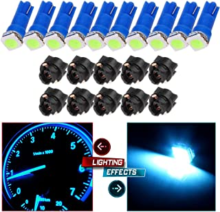 cciyu 10pcs T5 74 85 58 37 27 17 1-5050-SMD LED w/Black Twist Sockets Instrument Panel Dash Light Bulbs (blue)