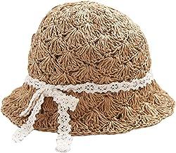 Womens Hats Caps - Garrelett Braided Straw Hats Roll-up Brim Caps Foldable Floppy Hat Bowknot Dome Cap Sun Beach Fisherman Hat Khaki