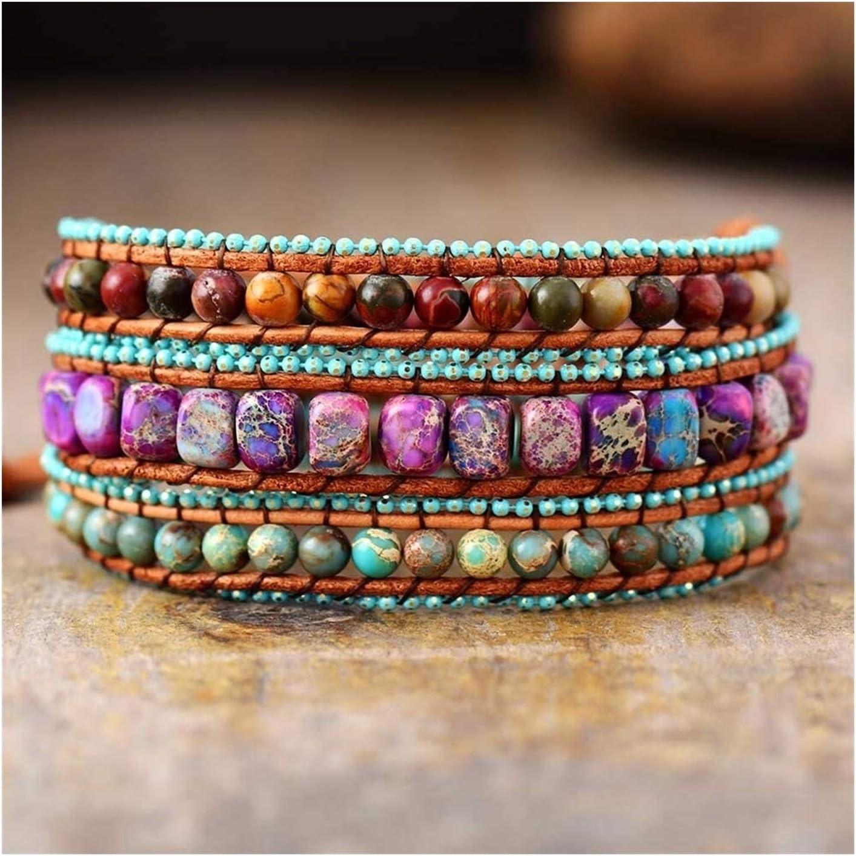 Arlington Mall AOSUAI store Bohemian Vintage Leather Wrap Mix Jaspers Stone Bracelets