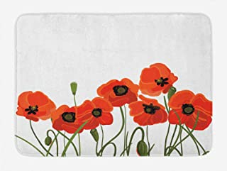 Ambesonne Poppy Bath Mat, Efflorescing Meadow in The Backwoods Vibrant Blossoms Buds Bouquet, Plush Bathroom Decor Mat with Non Slip Backing, 29.5 W X 17.5 L Inches, Vermilion Green