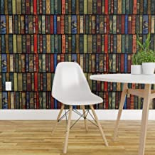 Spoonflower Pre-Pasted Removable Wallpaper, Books Literature Book Library Bookcase Photographic Print, Water-Activated Wallpaper, 24in x 144in Roll