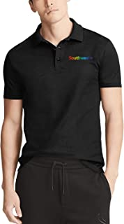 Men's Black Short Sleeve Collared Polo T-Shirt Southwest-Airlines-Aircraft-Camouflage- Tennis Buttons Tee Tops