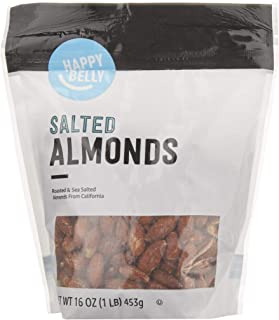 Amazon Brand - Happy Belly Roasted & Salted California Almonds, 16 Ounce