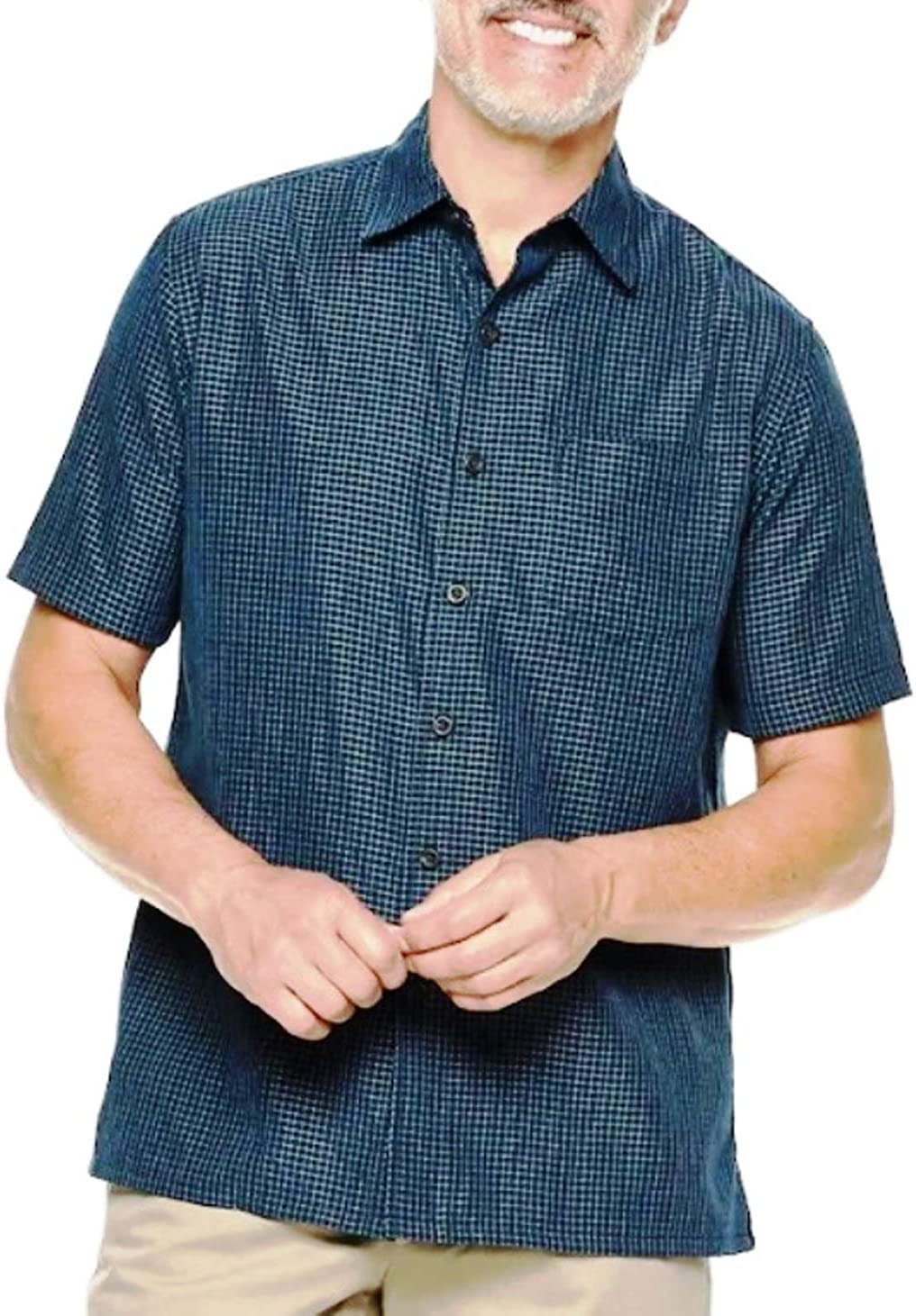 Croft & Barrow Classic-Fit Easy-Care Microfiber Button-Down Casual Short Sleeve Shirt Night Life Blue