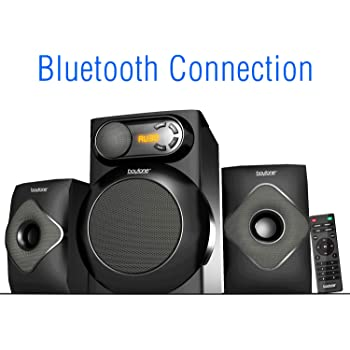 Amazon Com Boytone Bt 220fn 2 1 Multimedia Bluetooth Speaker System Powerful Shelf Stereo Wired Systems Fm Sd Slot Usb Port Mp3 Format 40 Watts Reactive Led Light Remote Control For Smartphone Tablet Home Audio