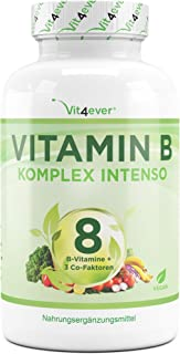 Vitamin B Komplex Intenso – 180 Kapseln (6 Monate) – Premium: 8 B-Vitamine +..