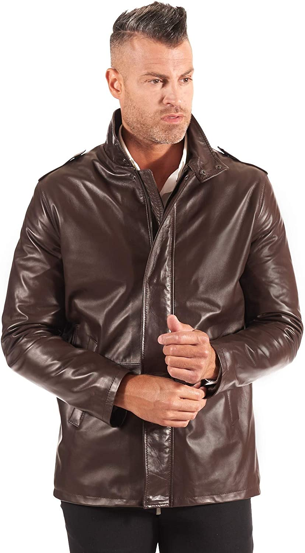 Dark brown nappa lamb leather jacket two pockets
