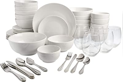 """Gibson ""All U Need"" 60 pc White Dinnerware Combo-Set-service for 6 includes dinnerware,-flatware, glassware"""