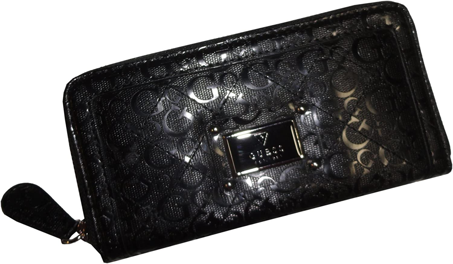 Guess Women's Zip Around Wallet Warm Wishes Signature Logo Black