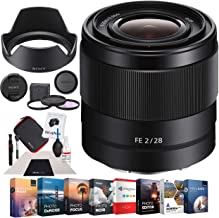 Sony SEL28F20 - FE 28mm F2 E-Mount Full Frame Prime Lens Bundle with Photo and Video Professional Editing Suite, Cleaning Kit for DSLR Cameras and 49mm UV, Polarizer & FLD Deluxe Filter Kit