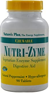 NaturesPlus Nutri Zyme - 90 Chewable Tablets, Peppermint Flavor - Vegetarian Enzyme Supplement with Bromelain & Papain, Na...