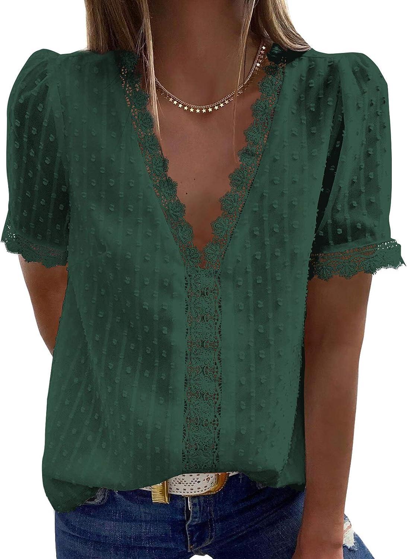 Astylish Womens Sexy Lace V Neck Tops Casual Jacquard Pom Pom Shirt Blouses