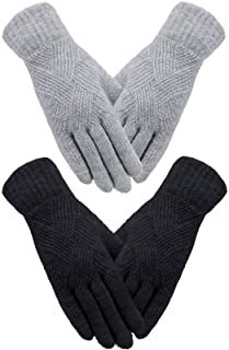 2 Pairs Women Winter Gloves Knit Touch Screen Gloves Full Finger Touchscreen Gloves Dual-layer Elastic Lined Gloves for Wo...