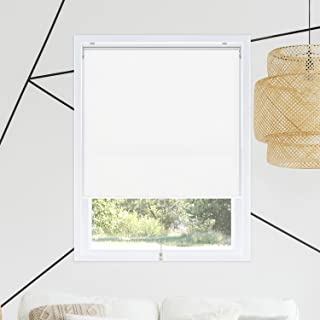 Chicology Cordless Roller Shades Snap-N'-Glide, Blackout Window Treatments Perfect for Living Room/Bedroom/Nursery/Office and More.Byssus White (Room Darkening), 35