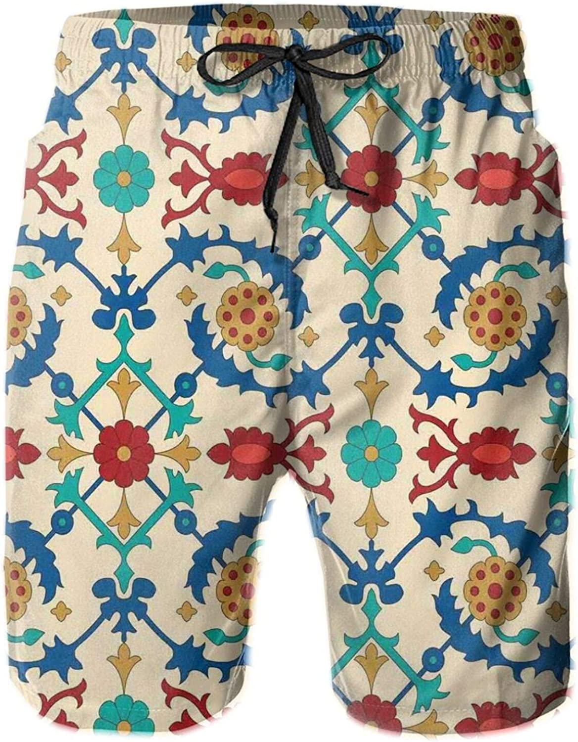 Nostalgic Eastern Art Motifs with Floral Ornaments with Baroque Inspiration Ethnic Drawstring Waist Beach Shorts for Men Swim Trucks Board Shorts with Mesh Lining,L