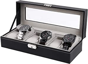 Ohuhu Watch Case Display, 6 Slot Watch Case Holder PU Leather Watches Storage Box with Lock and Key, Birthday Fathers Day Presents for Men and Women