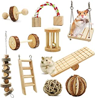 Gluckluz Hamster Chew Toys Molar Toys Gerbil Rat Guinea Pig Chinchilla Toothbrush Accessories Natural Wooden Dumbbells Exe...