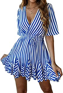 PRETTYGARDEN Women's Sexy Deep V Neck Short Sleeve Striped Wrap Ruffle Hem Pleated Mini Dress with Belt