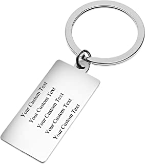 Fanery Sue Personalized Custom Rectangular Dog Tag Name Keychain Stainless Steel Key Tags Keyring Engraved Message ID Tag