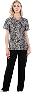 Womens Scrub Sets Wrinkle Free Two Piece V-Neck Tops with Drawstring Pants