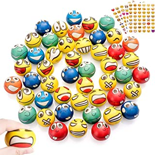 48Pcs Emoji Stress Balls, Stress Reliver Party Favors Emoji Face Squeeze Foam Ball Toys for Birthday, Holiday, Therapy Gift with 4 Sheets Emoji Stickers (Emoji)