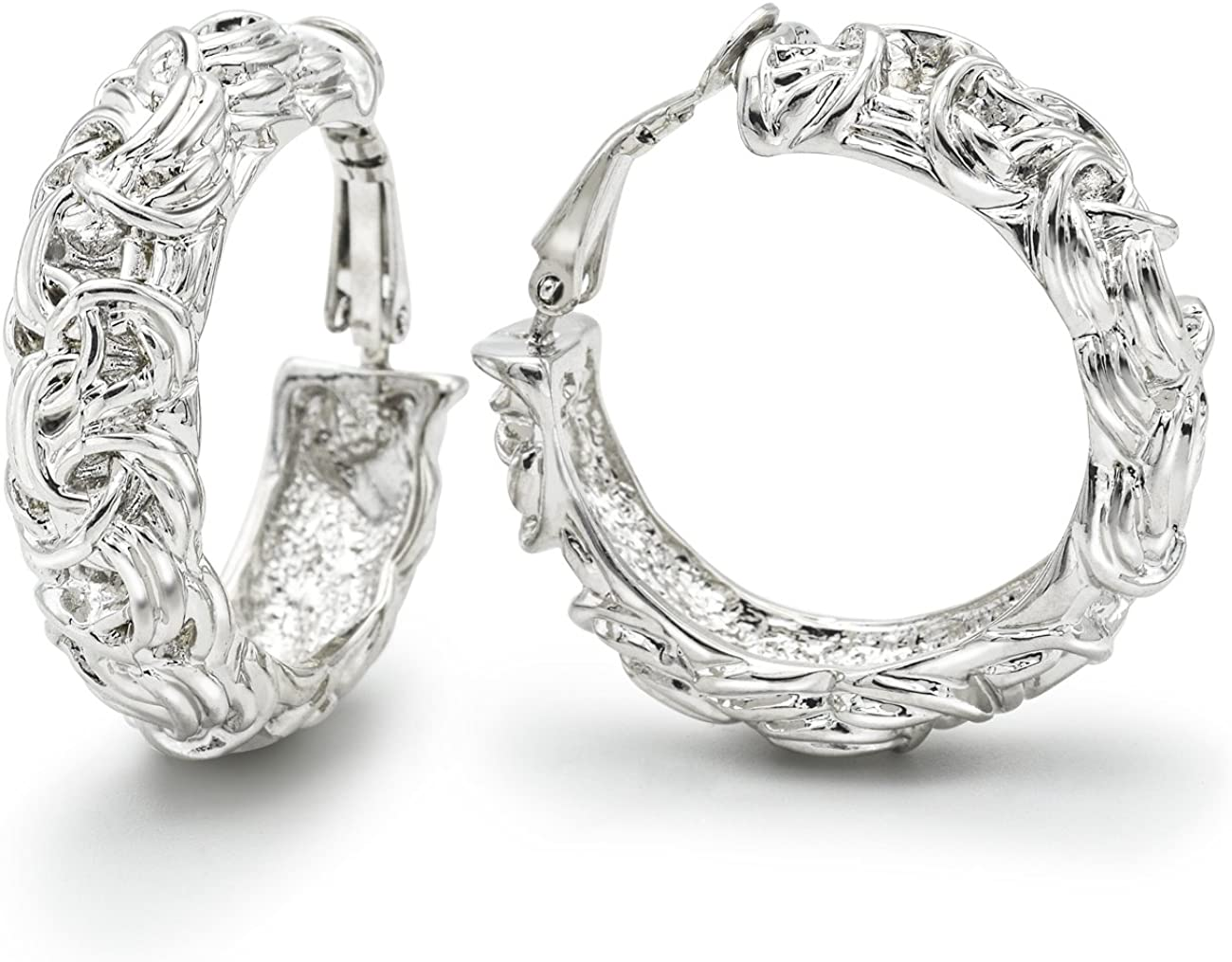 Sparkly Bride Clip on Earrings Wide Hoop Byzantine Knot Fashion Ornate Rhodium Plated