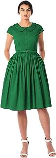 eShakti FX Peter Pan Collar poplin Belted Dress - Customizable Neckline, Sleeve & Length