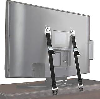 QBeau テレビ 転倒防止 TV 固定 地震対策ベルト 耐震ストッパー 2本セット,ボルトとハードウェアが含まれて [12ヶ月の保証]